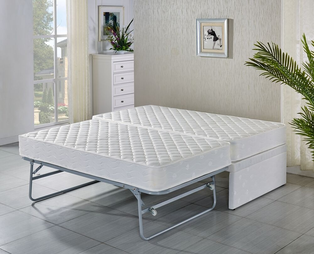 Single bed base with trundle bed with 2 mattresses 5 for Beds with trundle