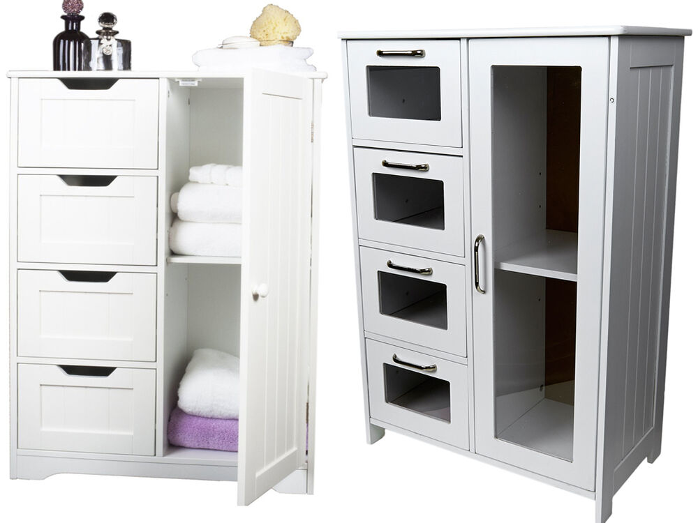storage bathroom cabinets white wooden cabinet w 4 drawers glass amp cupboard 14579