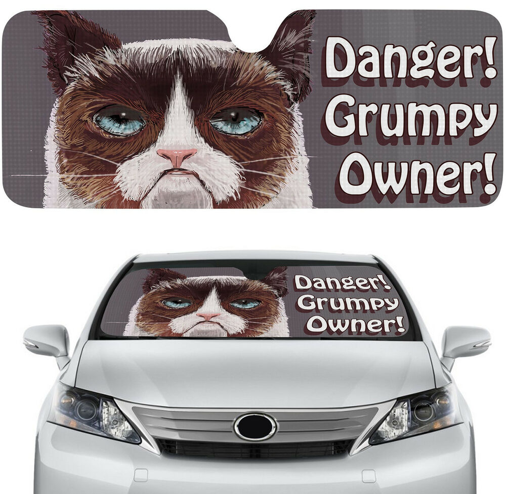 Weathertech Window Visors >> Awesome Car Windshield Sun Shade with Grampy Cat Design ...