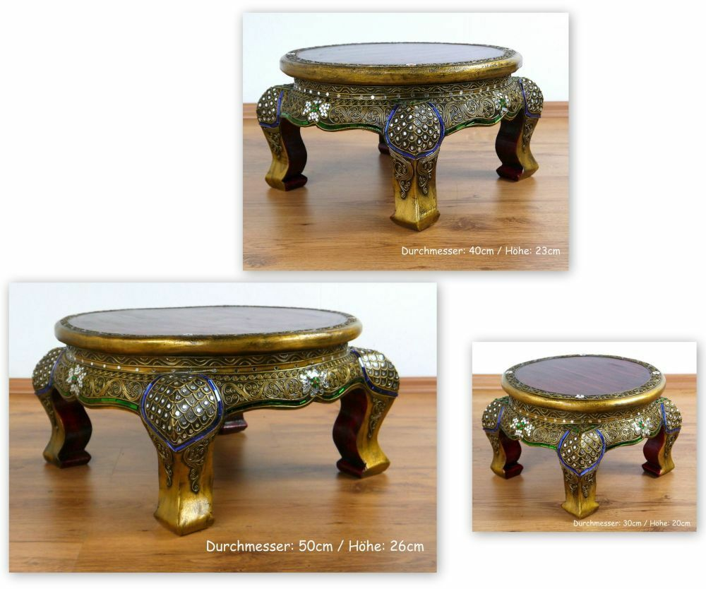Small Round Asian Opium Table Glass Mosaic Look Coffee Table Handmade Thailand Ebay
