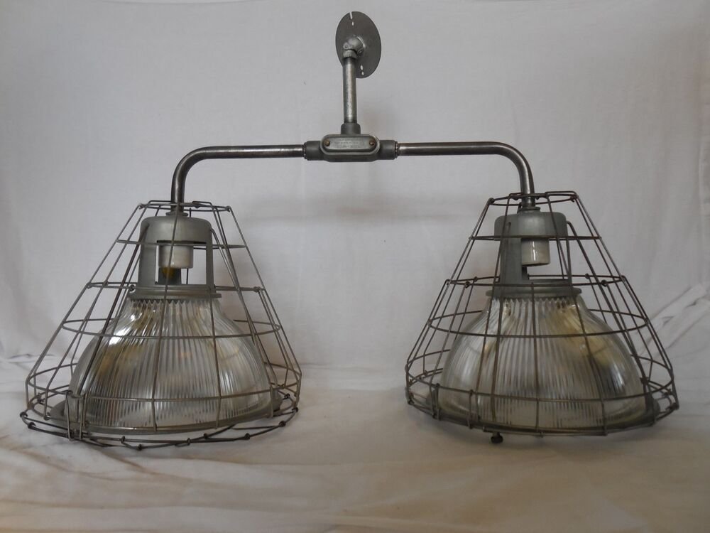 RARE Vintage Industrial Light Holophane old ceiling Barn Shade pendant dbl cage eBay