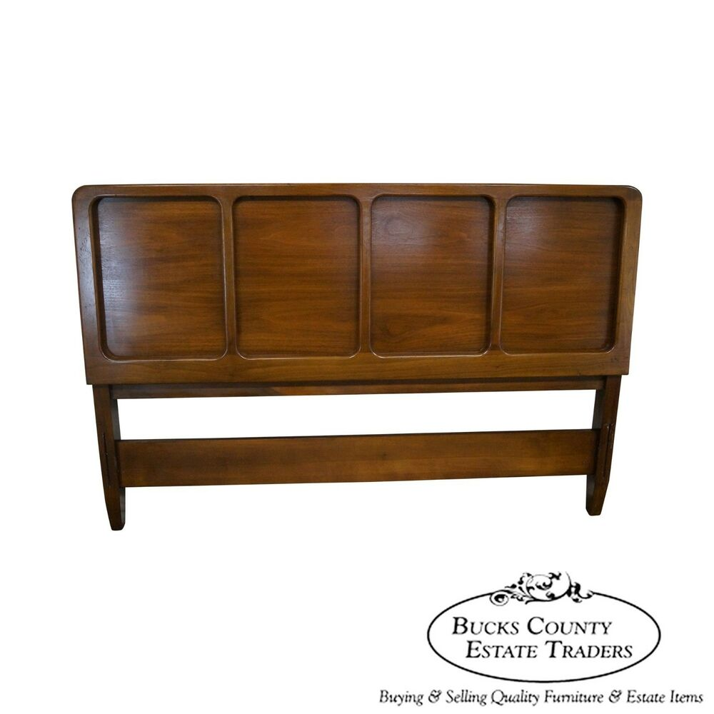 vintage mid century modern walnut full size headboard ebay. Black Bedroom Furniture Sets. Home Design Ideas