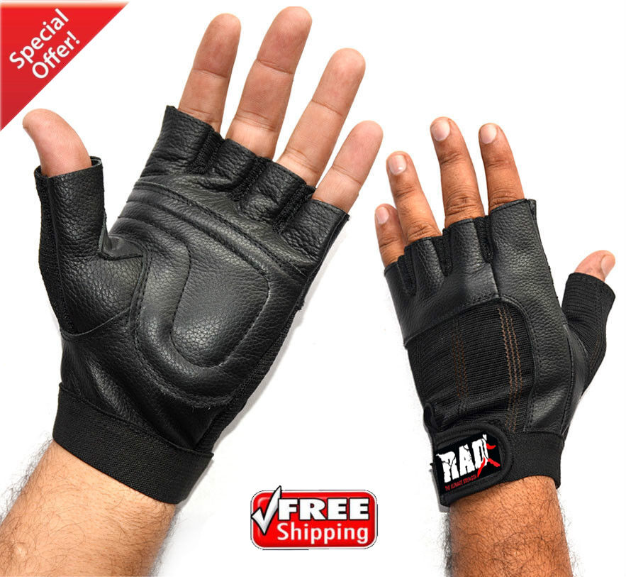 Weight Lifting Gloves Leather Fitness Gym Training Workout: RAD Leather Weight Lifting Gloves Gym Fitness Exercise