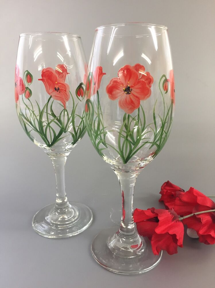Pair of hand painted wine glasses red poppy design ebay for Hand designed wine glasses