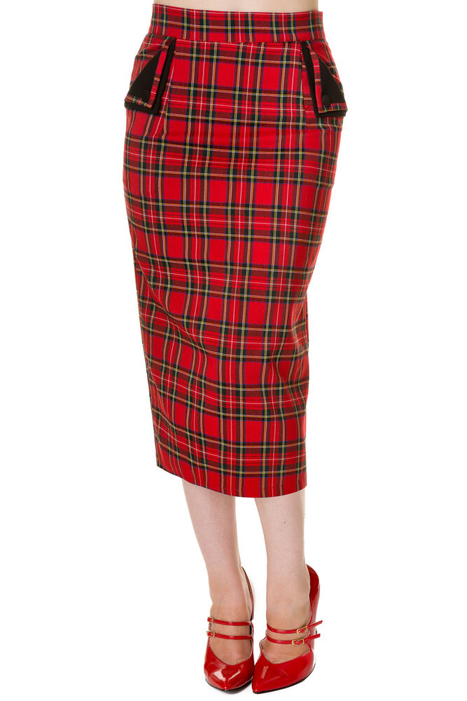 banned tartan pencil wiggle fitted skirt 50s