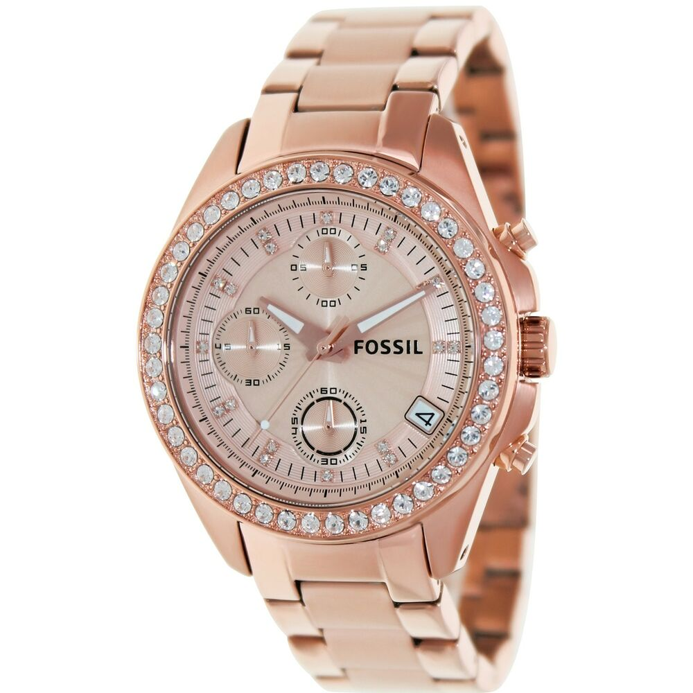 fossil women 39 s decker es3352 rose gold stainless steel quartz fashion watch ebay. Black Bedroom Furniture Sets. Home Design Ideas