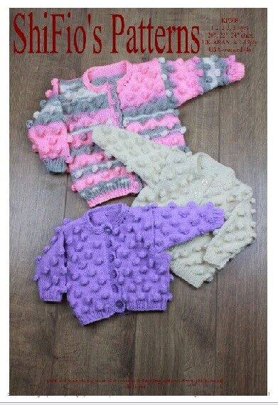 Knitting Pattern Sizes For Babies : KNITTING PATTERN for BABY BOBBLE CARDIGAN 3 SIZES #308 by ShiFio Patterns eBay