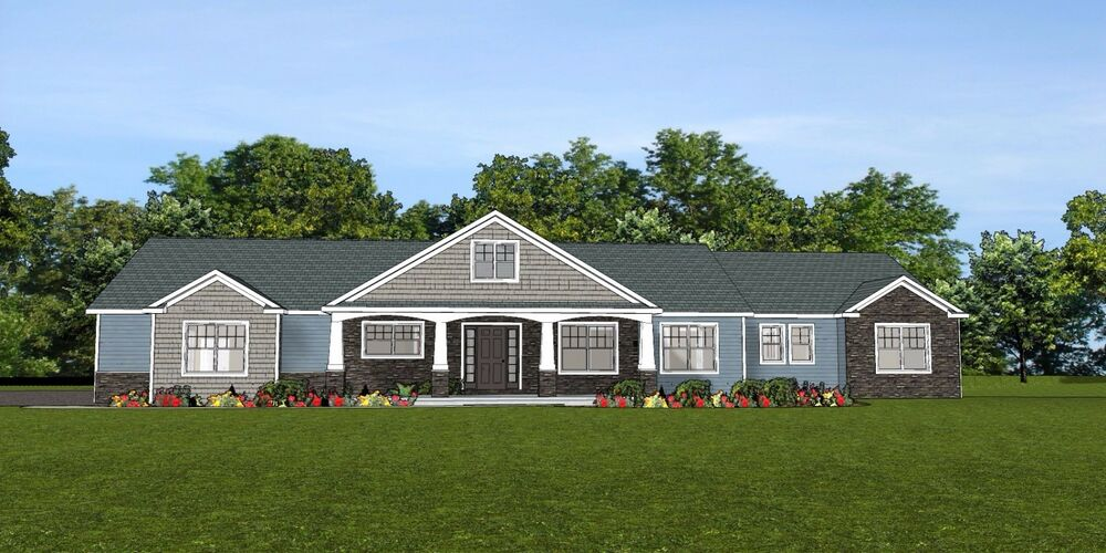 Custom home house plan 2 470 sf ranch w basement 3 car for House plans ranch 3 car garage