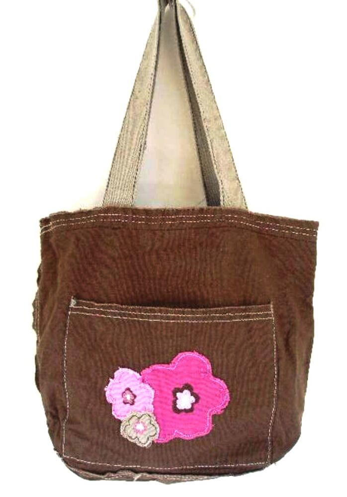 Thirty One Mini Retro Metro Bag Brown w Frayed Pink Flowers Retired 31 ...