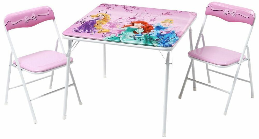 Disney Princess Metal Table and Chairs Set Folding Children Kids NEW FREE P&a