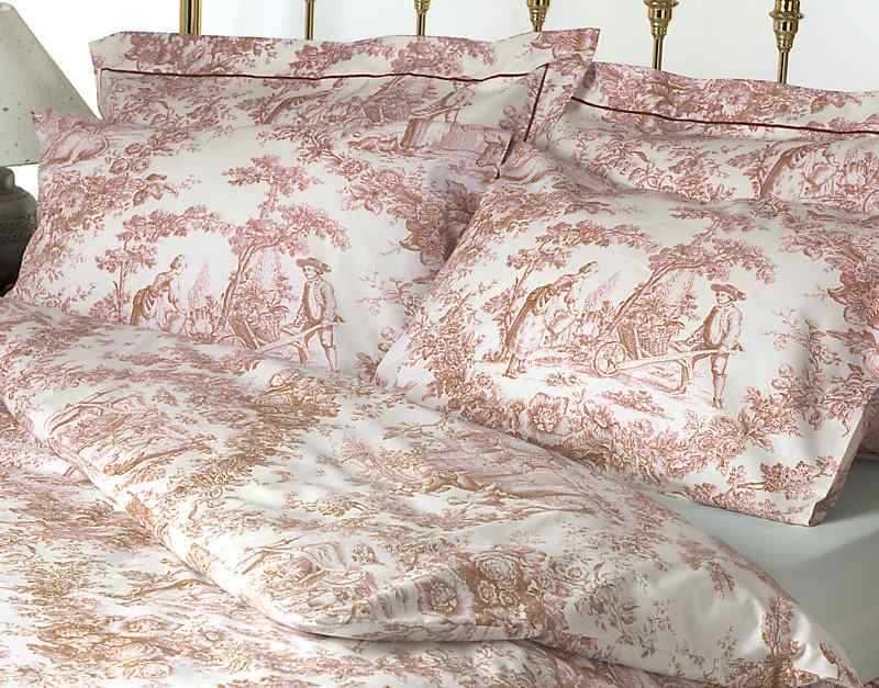 toile de jouy pink bedding set 100 cotton ebay. Black Bedroom Furniture Sets. Home Design Ideas