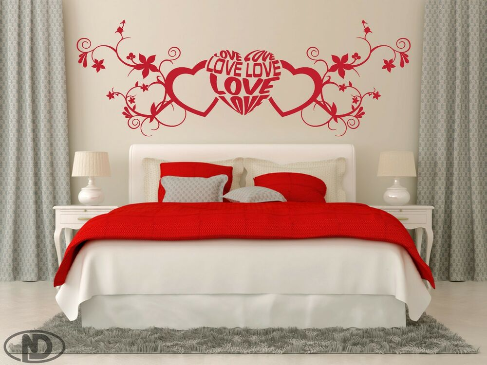 Love Hearts Flower And Swirl Bedroom Wall Art Removable