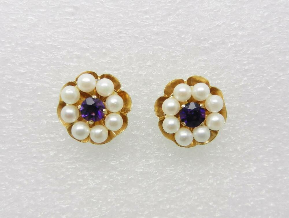 14k yellow gold vintage amethyst stud earrings pearl and. Black Bedroom Furniture Sets. Home Design Ideas