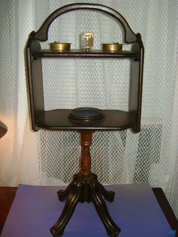 antique floor stand ashtray cigar cig match holder wood brass metal ashtrays ebay. Black Bedroom Furniture Sets. Home Design Ideas