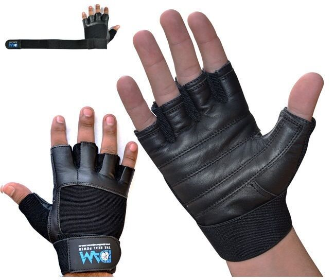 Gym Gloves Weight Lifting Leather Workout Wrist Support: Weight Lifting Gloves Black Leather With Wrist Support