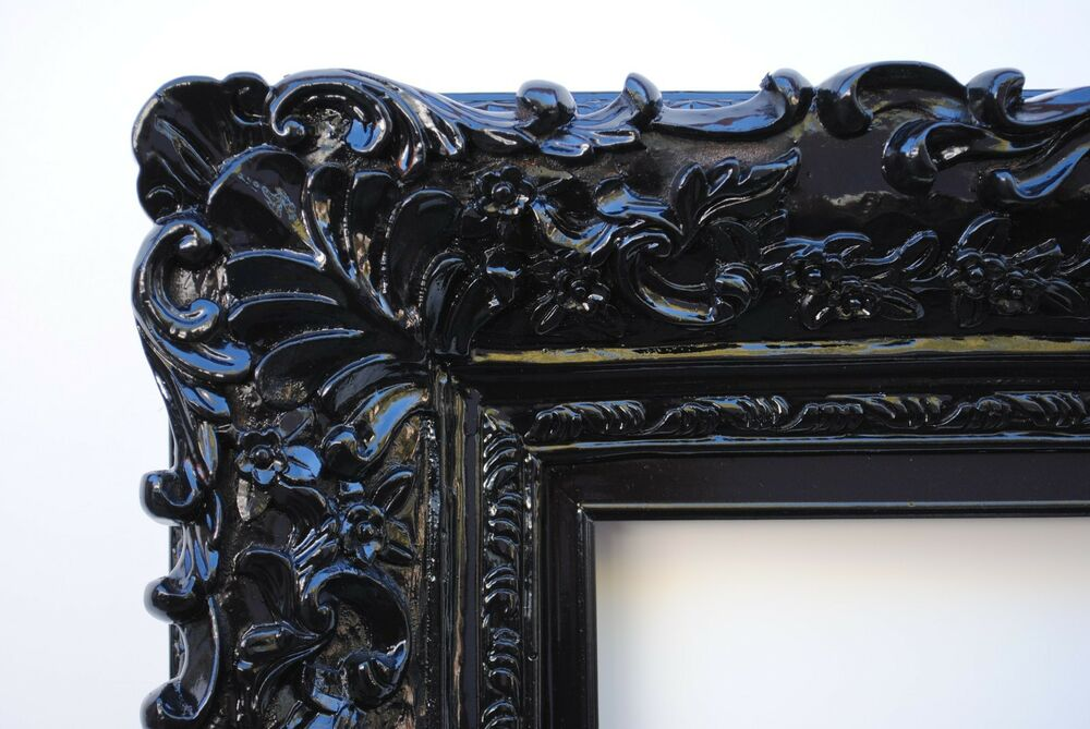 Wide Ornate Antique Black Lacquered Floral Baroque Picture