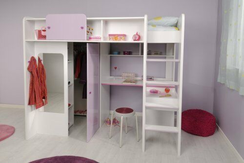 hochbett kinderzimmer jugendzimmer eckschrank schreibtisch weiss lila hochglanz ebay. Black Bedroom Furniture Sets. Home Design Ideas