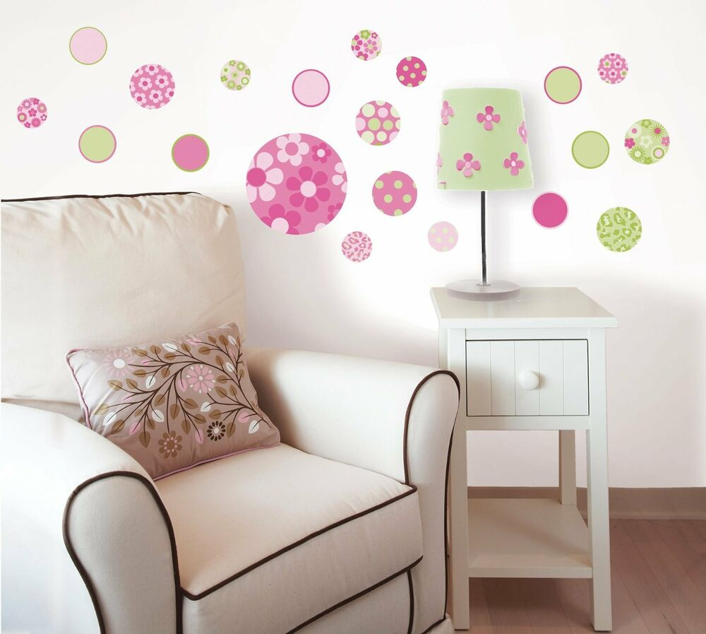 Pink dotty 20 wall decals green dots flower decorations room decor stickers vl ebay