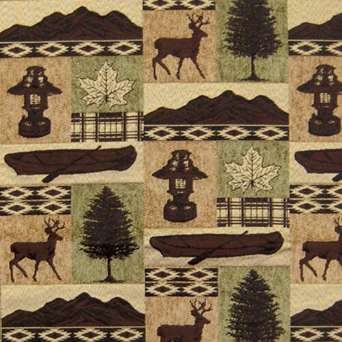 Upholstery Fabric Fargo Lodge Cabin Rustic Canoe Deer Lantern Trees Furniture Ebay