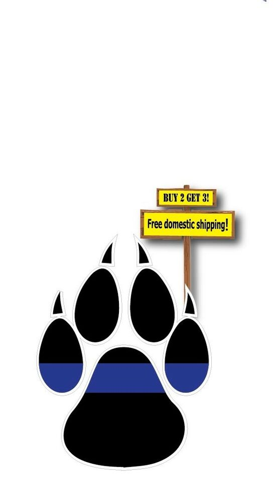 Thin Blue Line Paw Prints K9 Dog Police Support The Fallen