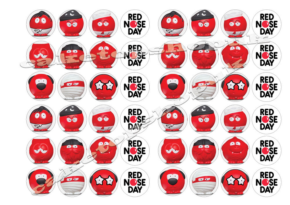 Cake Decorations For Red Nose Day : 48 Red nose day 2017 noses comic relief cake Toppers 30mm ...