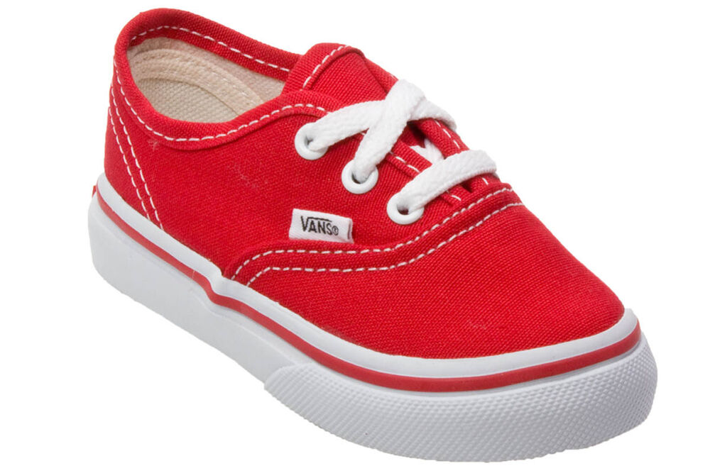 Vans Authentic Red White Canvas Infant Toddler Baby Boy