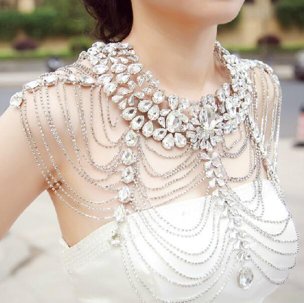 Vintage Wedding Bridal Silver Crystal Long Full Body ...