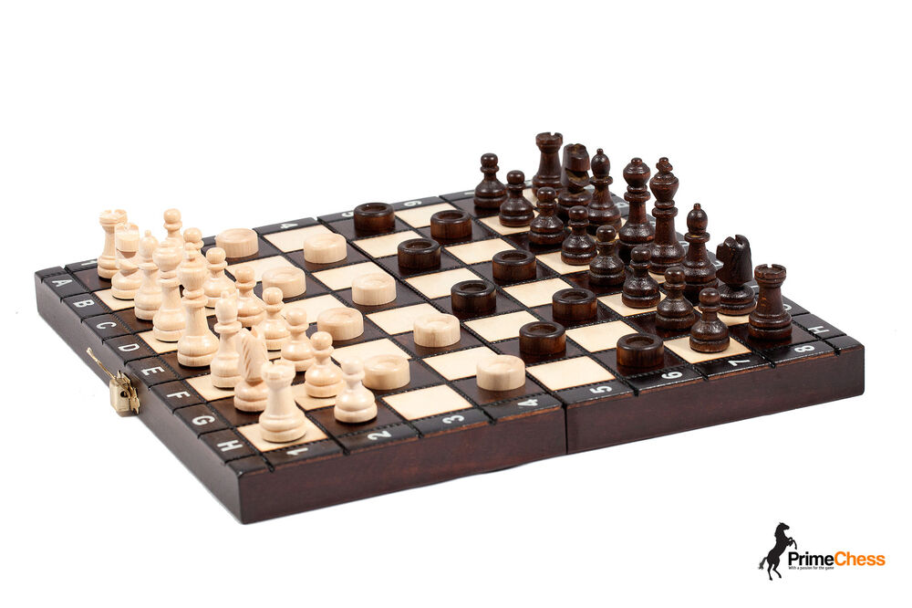 Tournament wooden chess backgammon draughts set 26cm for Hand crafted chess set