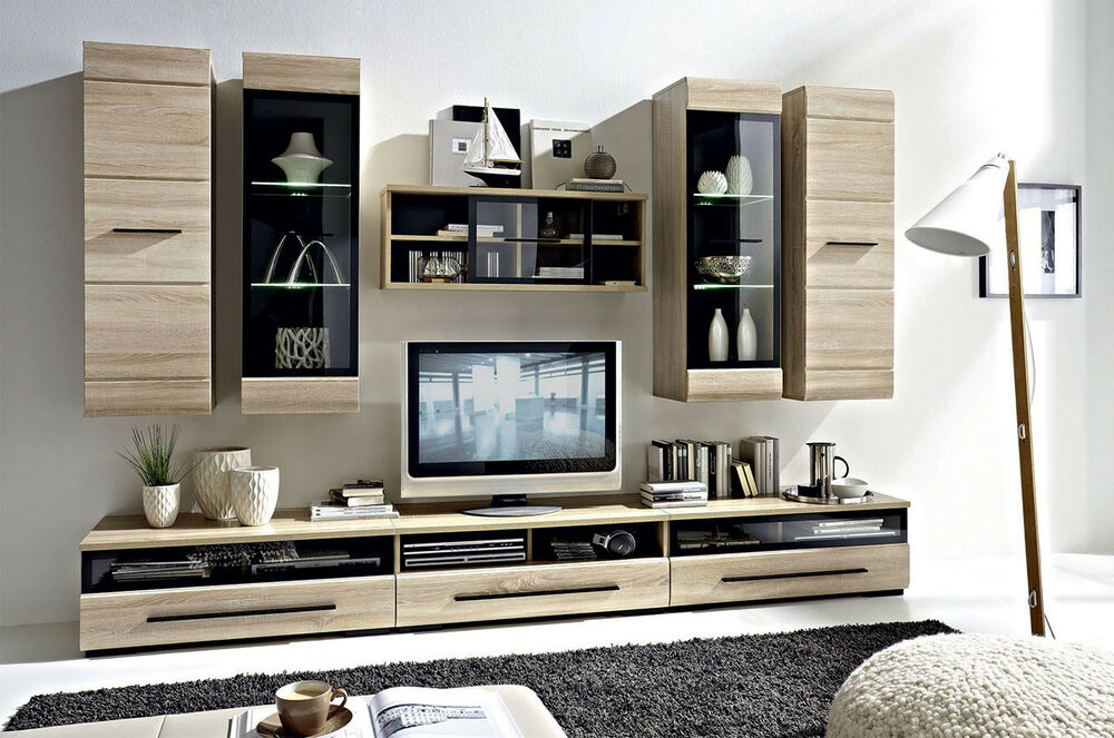 modern living room furniture set led wall units tv cabinets sonoma