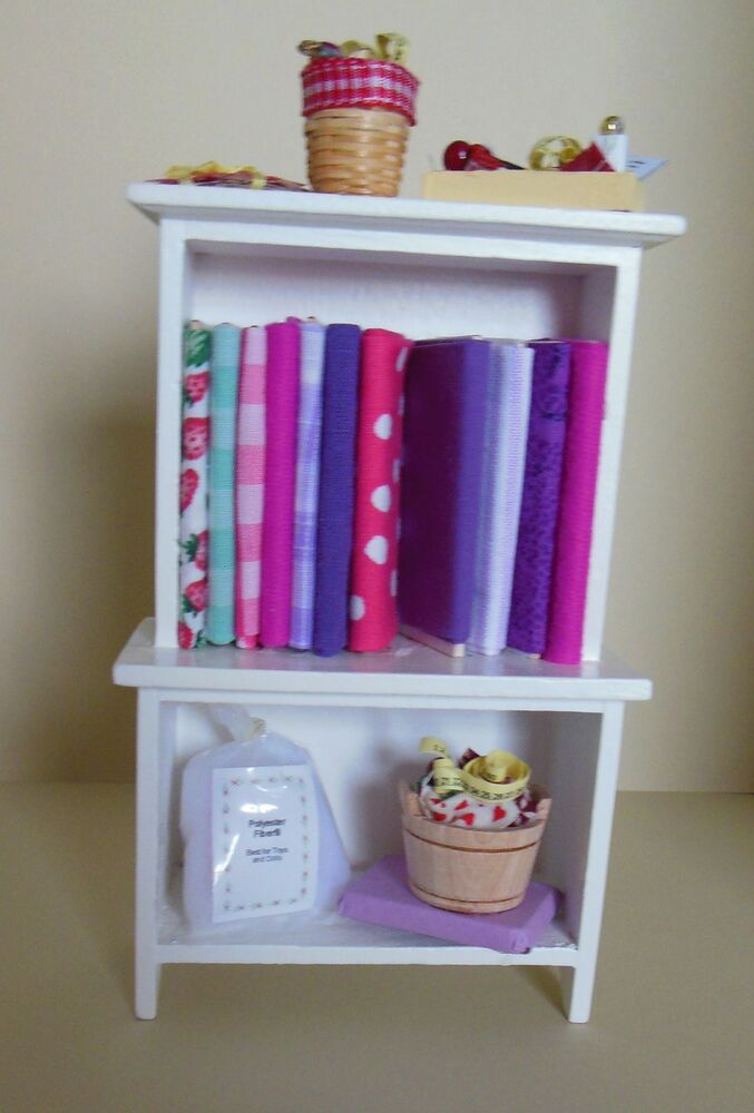 Dollhouse miniatures sewing cabinet w fabric quilting for Sewing materials