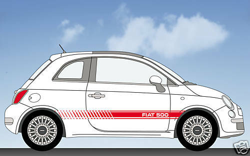 fiat 500 style stripes stickers decals ebay. Black Bedroom Furniture Sets. Home Design Ideas
