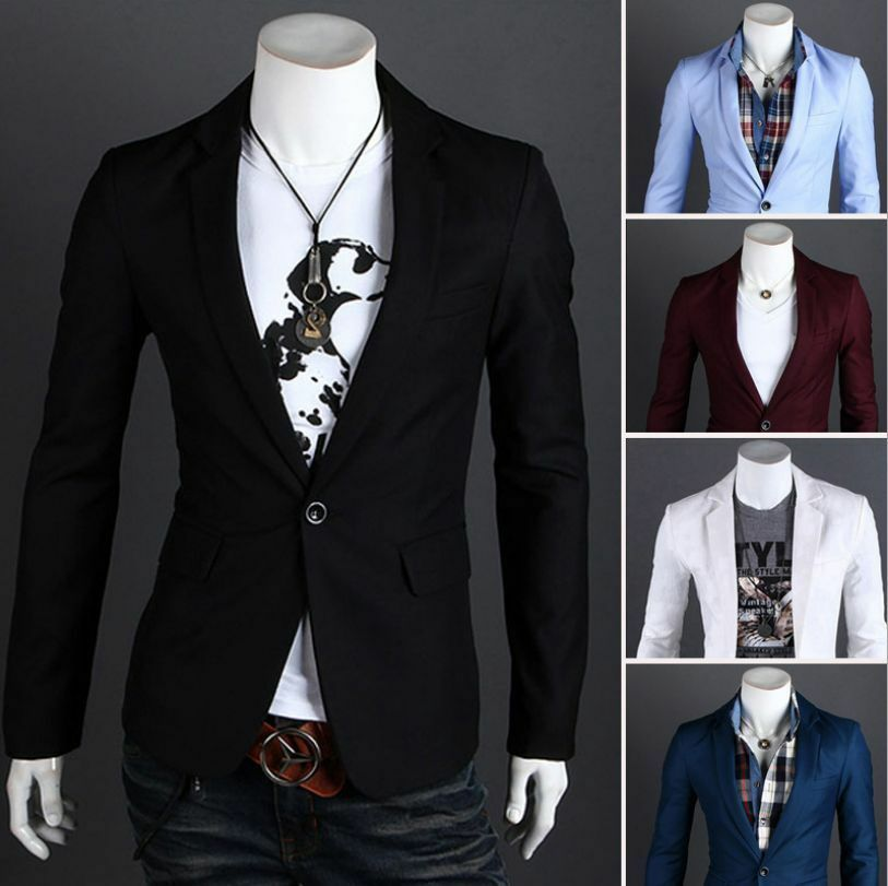 Fashion Stylish Men's Casual Slim Fit One Button Suit ...