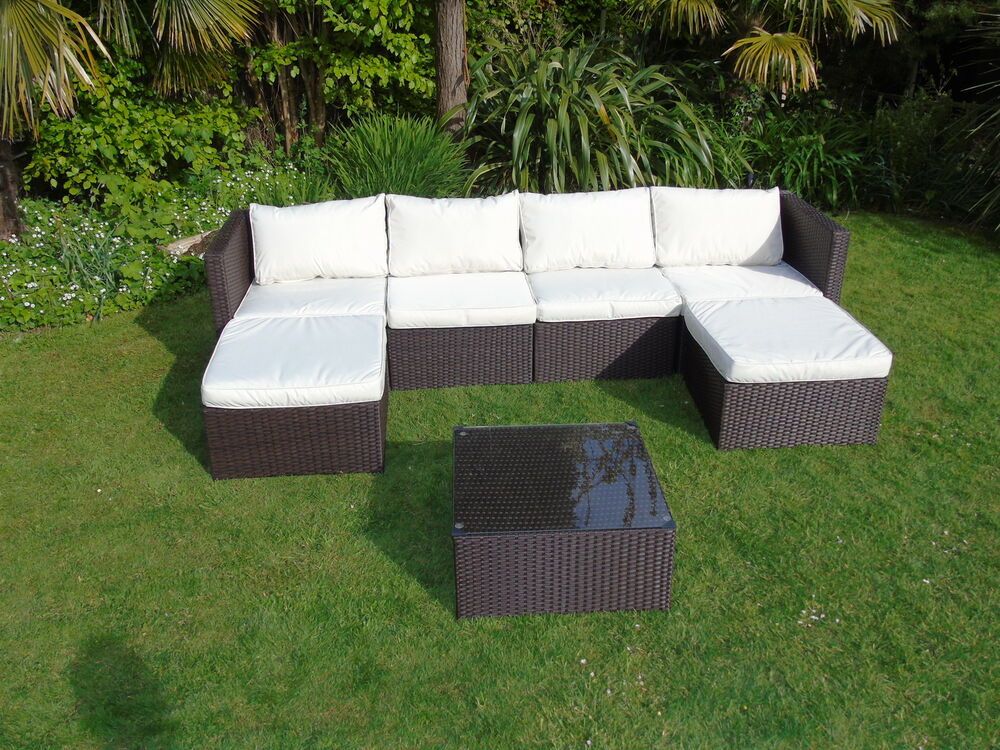 new rattan garden patio wicker outdoor conservatory corner sofa furniture set ebay. Black Bedroom Furniture Sets. Home Design Ideas