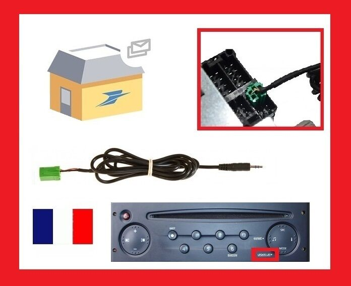 cable aux mp3 autoradio renault megane 2 clio 2 3 kangoo espace 2 modus scenic 2 ebay. Black Bedroom Furniture Sets. Home Design Ideas