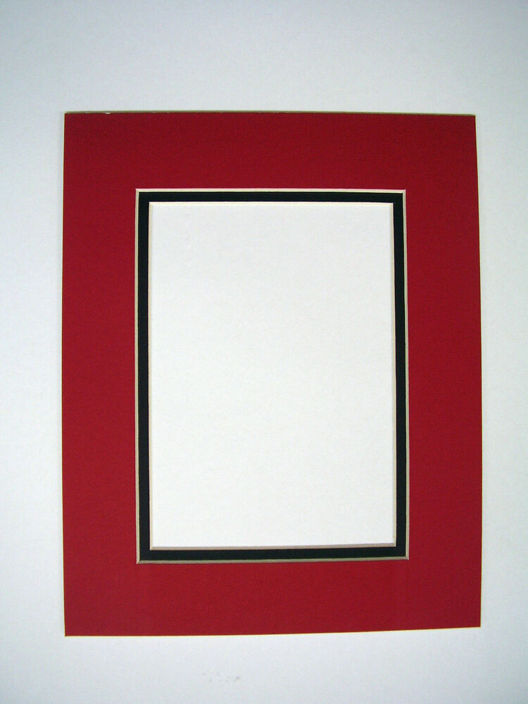 Picture Frame Mat set of two 10x13 for 8x10 photo Red with Black ...
