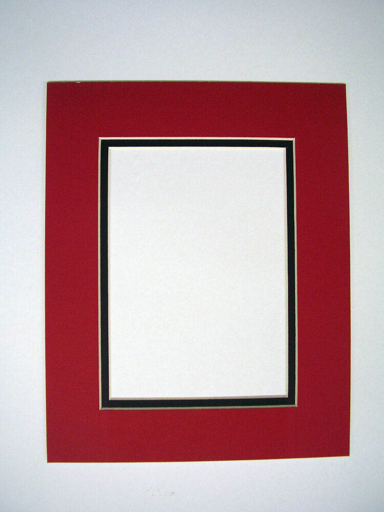 picture frame mat set of two 10x13 for 8x10 photo red with black liner two mats ebay. Black Bedroom Furniture Sets. Home Design Ideas