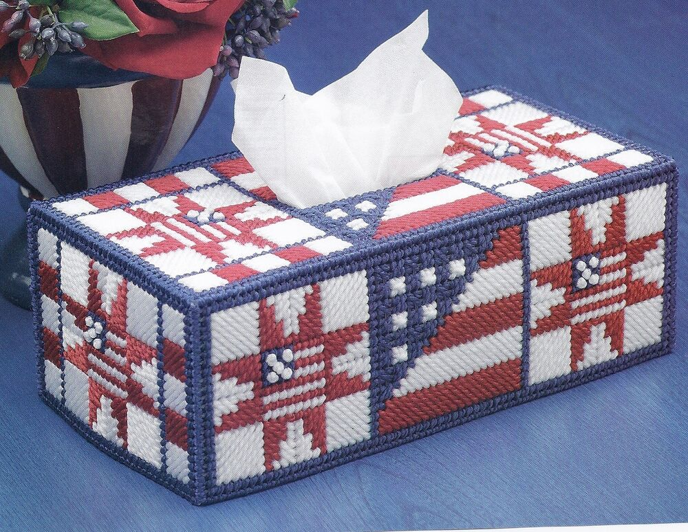Old Glory Quilt Block Tissue Cover Pattern Only Plastic