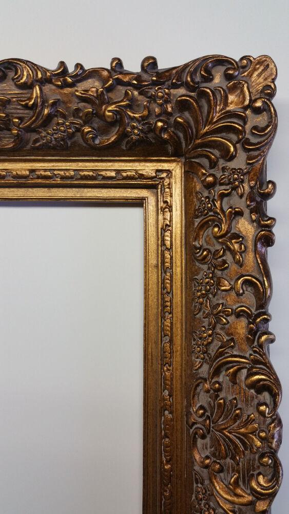 Wide Ornate Antique Gold Gilt Bronze Floral Baroque