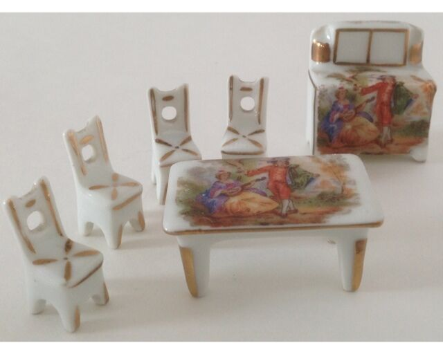 6 pieces limoges france china miniature fragonard dining for Chinese furniture ebay australia