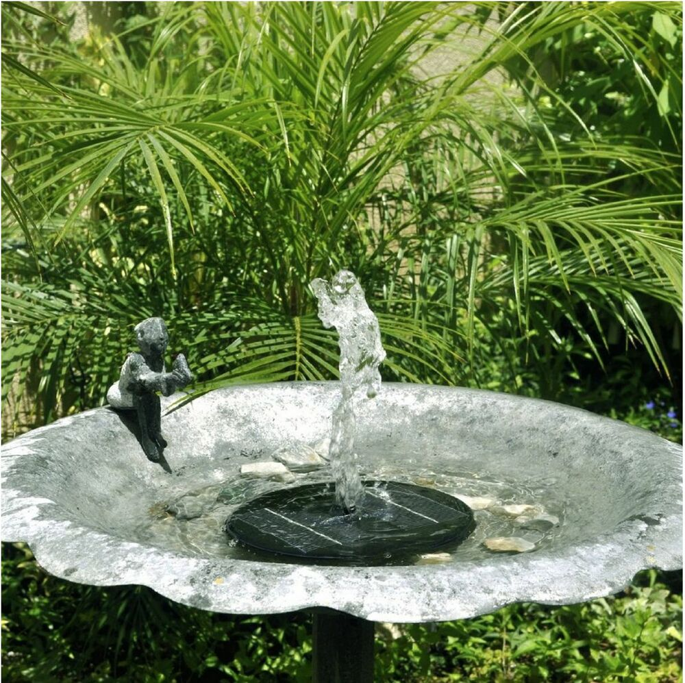 Floating solar powered pond garden water pump fountain for for Outdoor fish fountain