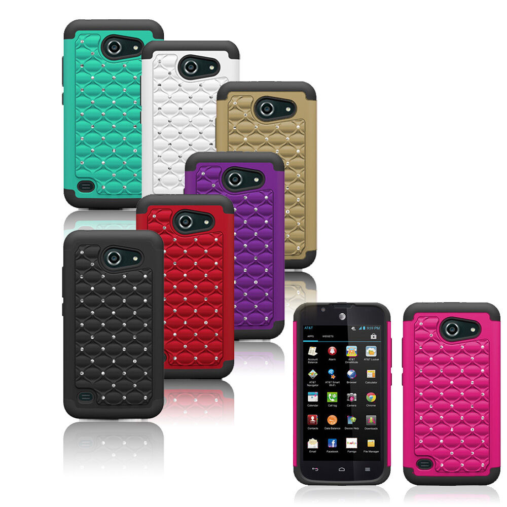 For Huawei Tribute Fusion 3 Y536A1 Hybrid Hard Rugged Bling Diamond ...