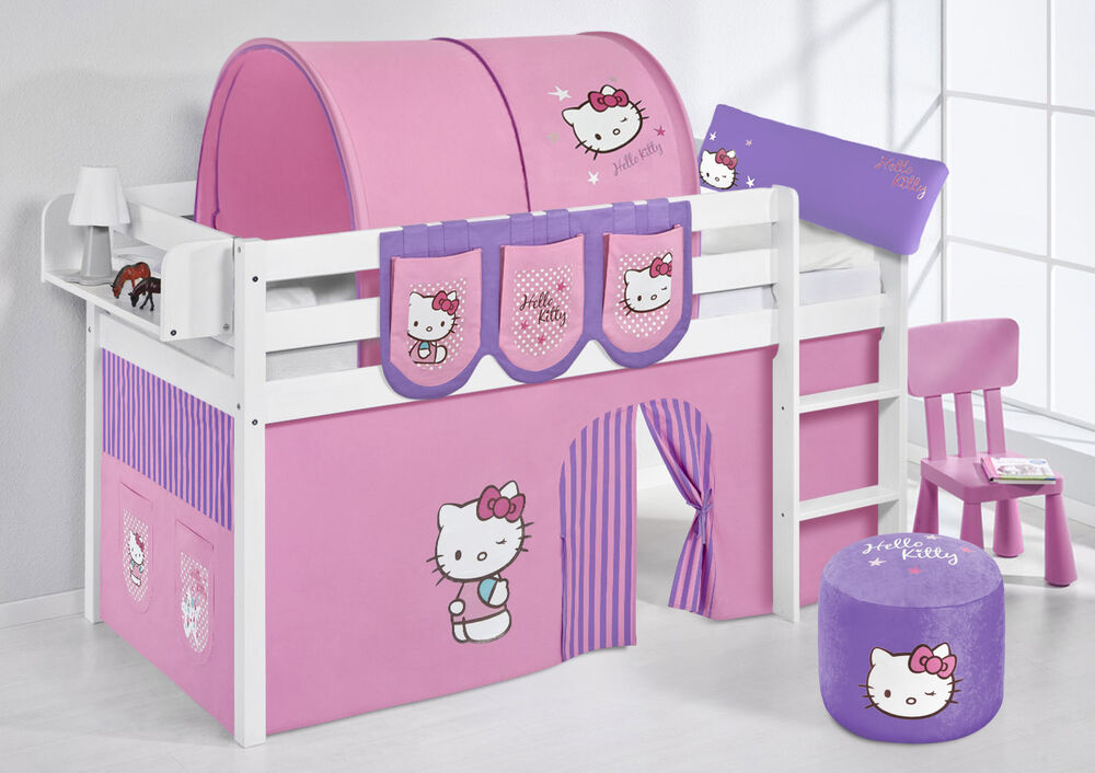 spielbett hochbett kinderbett jelle neu lilokids hello kitty lila ebay. Black Bedroom Furniture Sets. Home Design Ideas