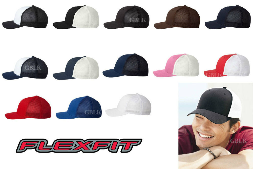 Details about Yupoong Flexfit Trucker Cap 6511 Fitted Mesh Baseball Hat NEW  18 Colors One Size e66f9b907e4c