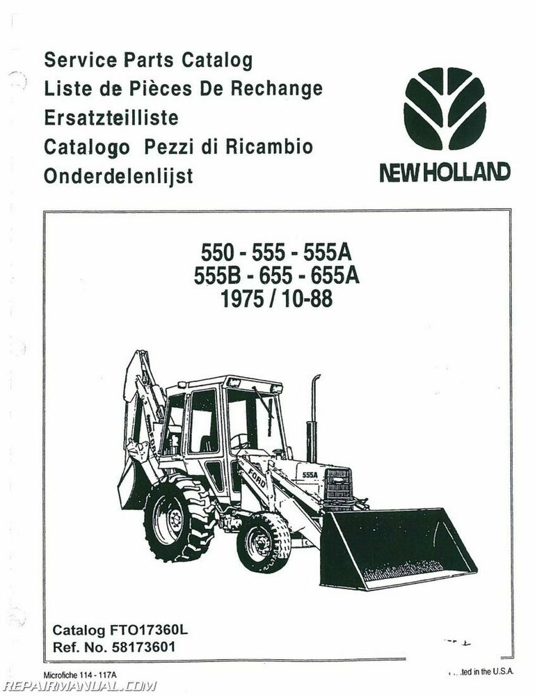 ford 550 555 555a 555b 655 655a tractor parts manual