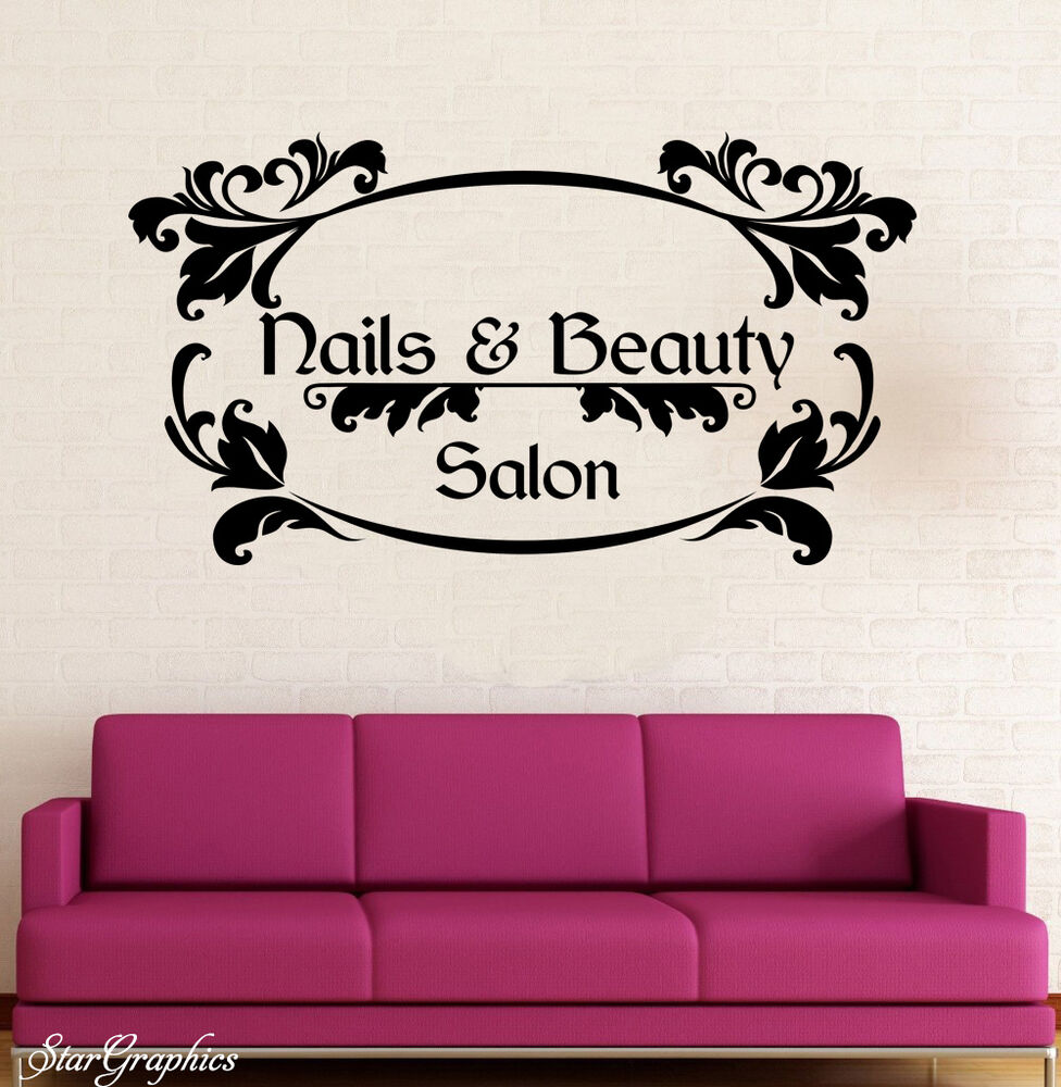 Nails beauty wall art sticker hair beauty salon for Stickers salon