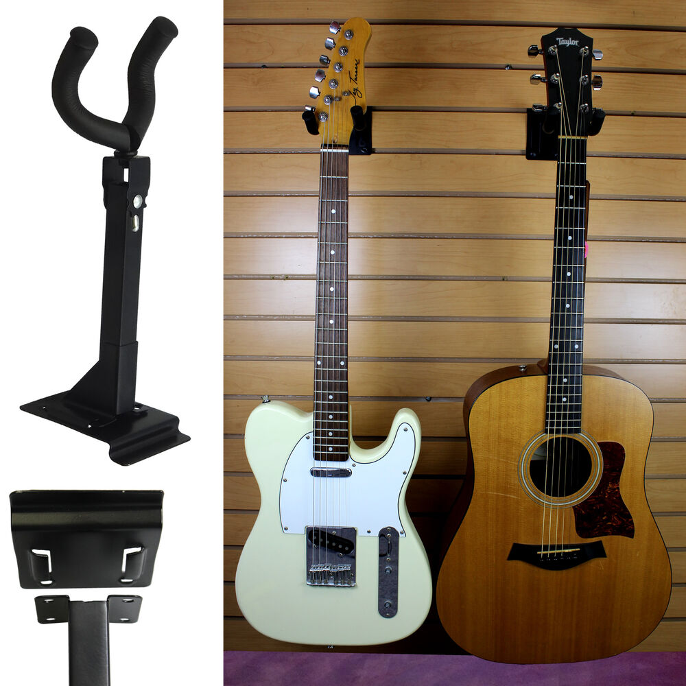 adjustable acoustic electric guitar wall mount display hanger holder hook stand ebay. Black Bedroom Furniture Sets. Home Design Ideas