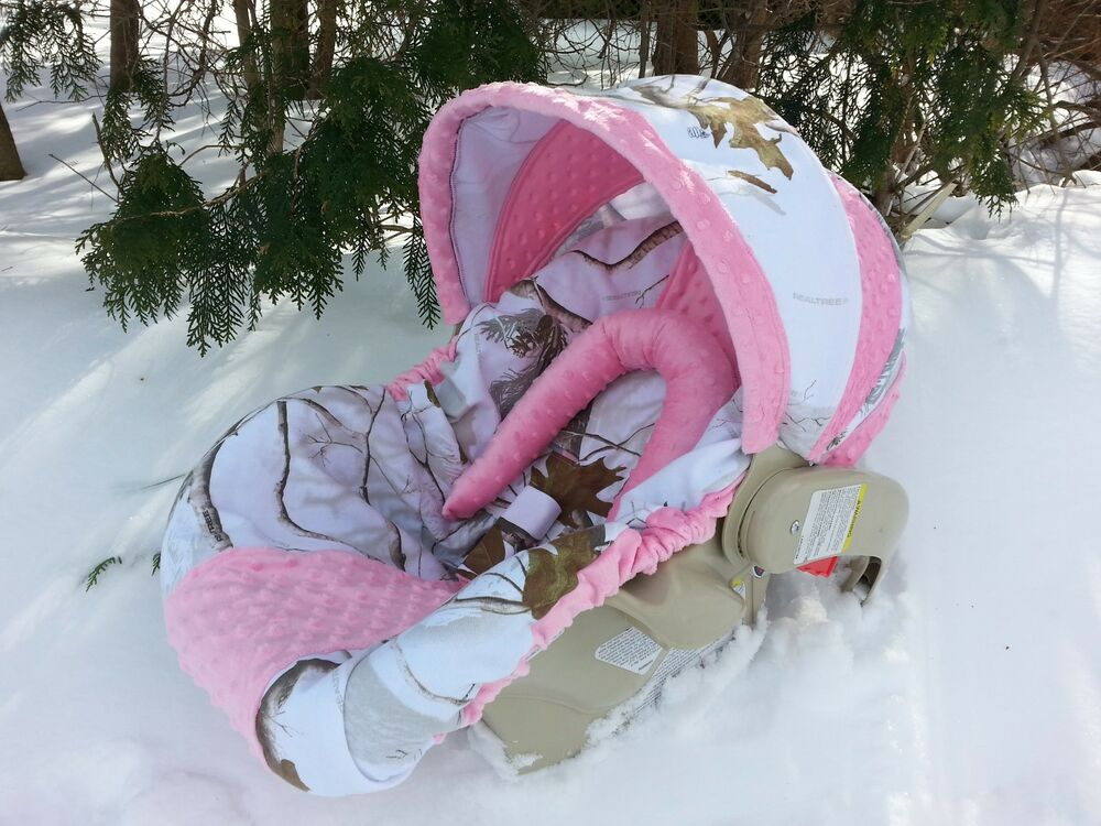 Camo Infant Car Seat Cover Realtree Snow Fabric And Pink