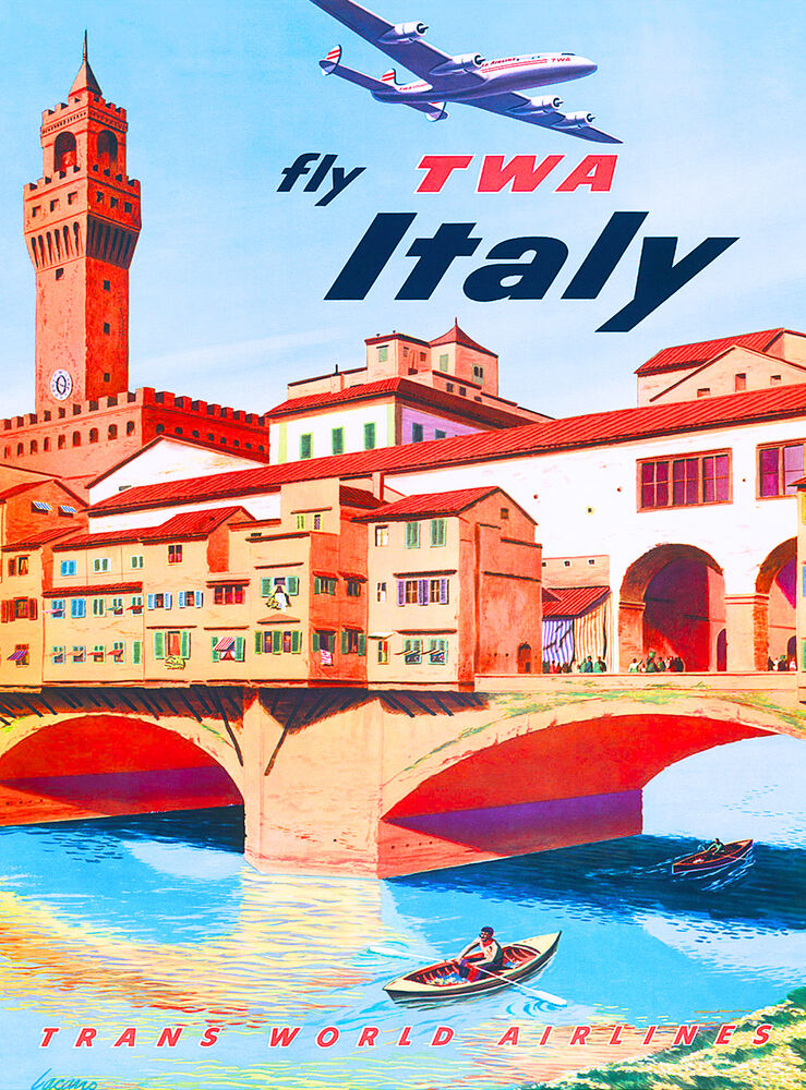 Florence Fly Italy Airplane Italian Europe Vintage Travel ...