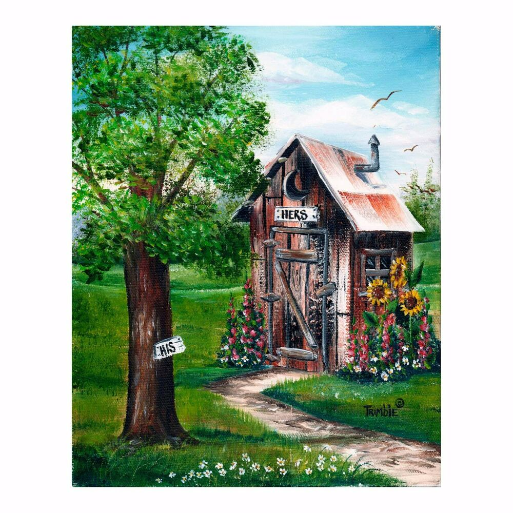 Outhouse Print Unframed Great Bathroom Decor His Amp Hers