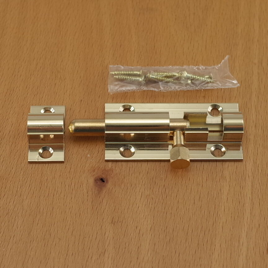 2 x 1 solid brass door latch barrel bolt safety slide for 1 2 lock the door